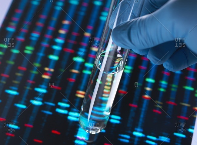 A test tube with a sample being held in front of DNA results on screen