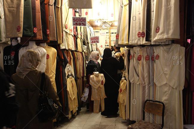 Marrakesh, Marrakesh, Morocco - October 27, 2010: Marrakech, women in the souk, Marrakech, Morocco North Africa