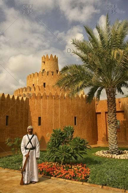 The Sultan bin Zayed Fort, dubai, UAE, United Arab Emirates - January 2, 2010: Sentry at Sheikh Zayed Palace Museum, Al-Ain, Abu Dhabi, United Arab Emirates