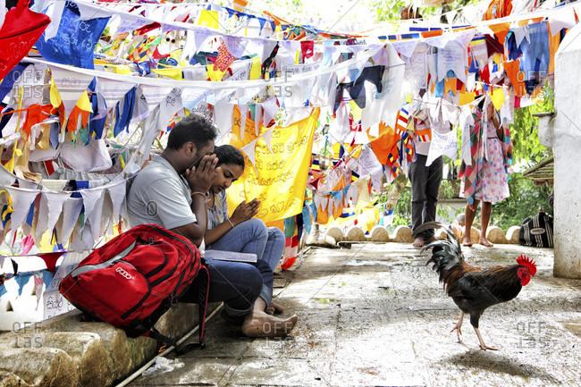 Sri Dalada Maligawa, kandy, Sri Lanka - September 12, 2015: Hindus praying next to a rooster. Sri Lanka - Temple of the Tooth, Kandy, Sri Dalada Maligawa, Buddhist shrine, Sri Lanka, UNESCO World Heritage Site