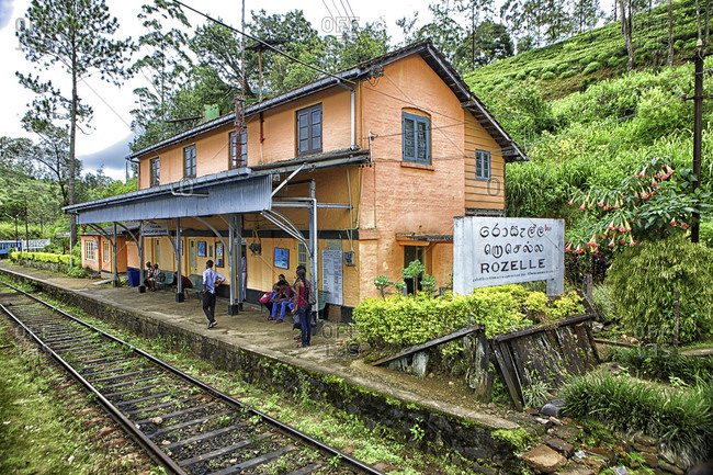 Rozelle, Central province, Sri Lanka - September 15, 2015: Rozelle Train Station.  Sri Lanka, Central Province, the popular scenic train ride through the tea growing hill country