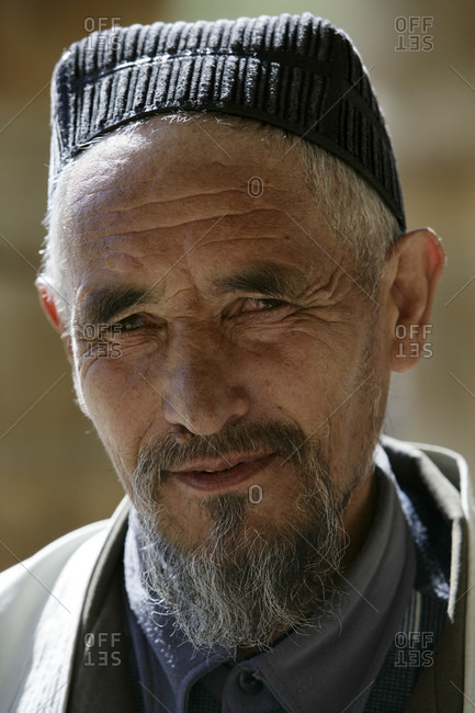 Bukhara, Bukhara, Ukbekistan - April 5, 2010: Portrait of an elderly Uzbeki man, Bukhara, Uzbekistan