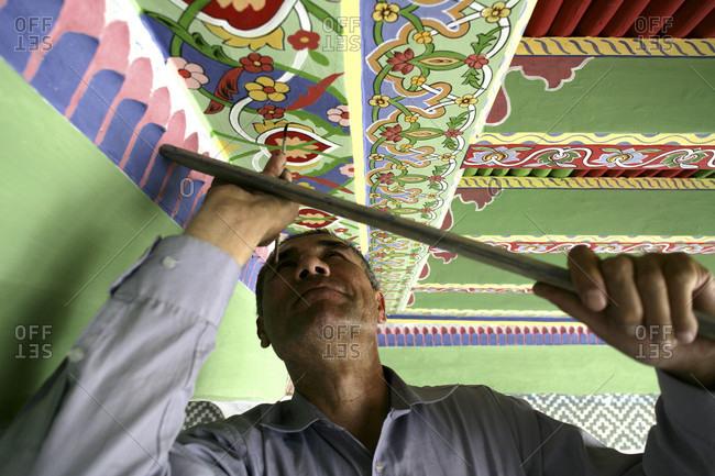 Khokand, Khokand, Ukbekistan - April 10, 2010: Rehabilitation of Juma Mosque in Kokand
