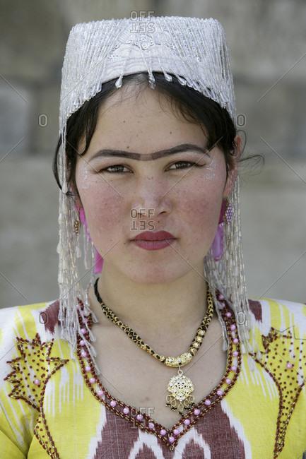 Bukhara,  Bukhara,  Uzbekistan - April 8, 2010: Uzbek woman