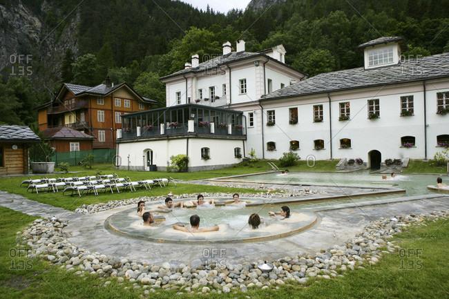 Pr_-Saint-Didier, Northwestern Italy, Northern Ita, Italy - June 19, 2009:  Italy, Aosta valley, Aosta, Pr_-Saint-Didier thermal baths