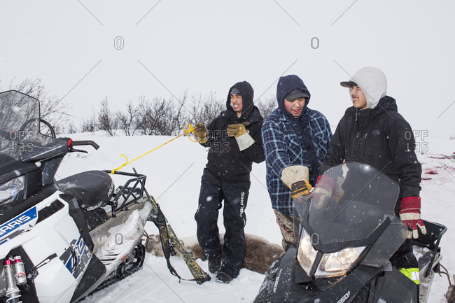 Fort McPherson, Northwest Territories, Canada - May 29, 2015: Gwich'in subsistence hunters harvest caribou outside Fort McPherson, Northwest Territories, Canada, March 17, 2016.