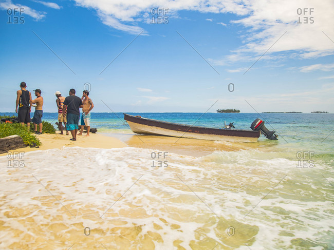 San Blas, San Blas, Panama - November 21, 2014: Group of guys on a small island in San Blas.