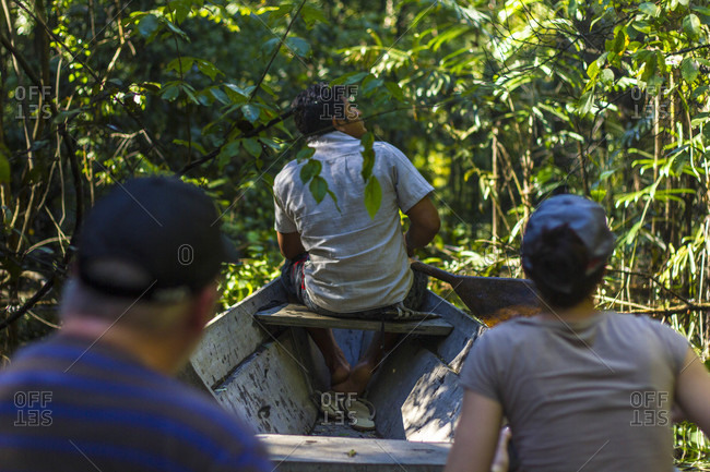 Rio Negro, Manaus, Brazil - March 7, 2015: Searching for wildlife on the Rio Negro