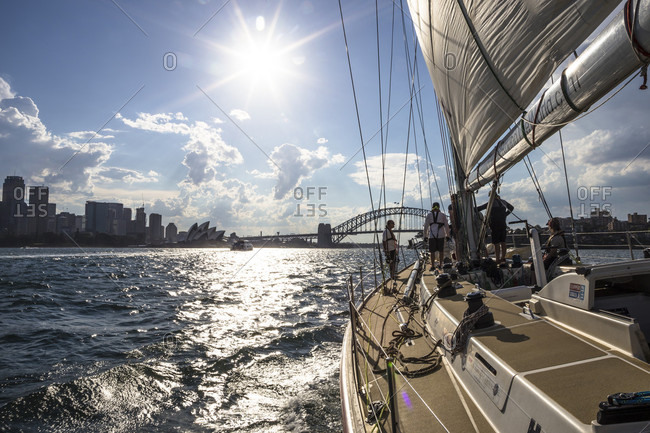 Sydney Harbor, New South Wales, Australia - December 9, 2015: Clipper training boat in Sydney Harbor prior to the 2015 Rolex Sydney to Hobart yacht race.