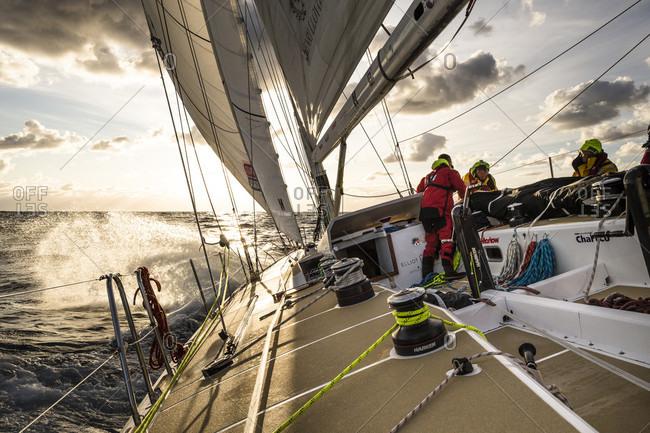 Bass Strait, Tasmania, Australia - December 28, 2015: Clipper Round the World Yacht Race, Team Garmin racing in Rolex Sydney to Hobart 2015.