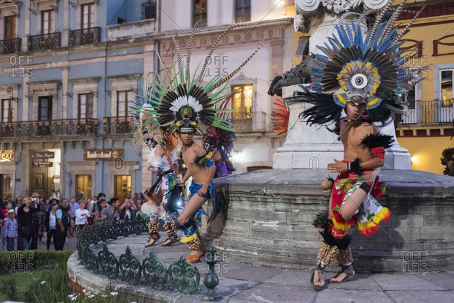 Guanajuato City, Guanajuato, Mexico - November 1, 2015: Dancers perform an Aztec ritual dance to celebrate the Day of the Dead in Guanajuato, Mexico.