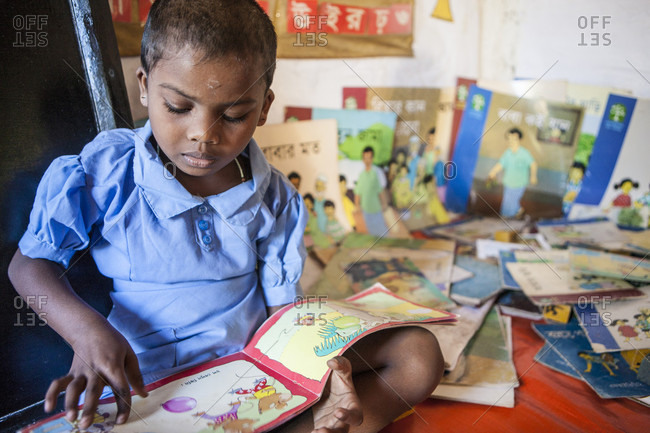 Malinchora Village, Malinchora, Bangladesh - November 14, 2013: Reading corner at Pre-school center in Malinchora Village. Bangladesh.