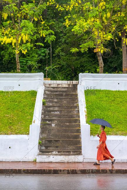 Luang Prabang, Louangphabang, Laos - May 15, 2015: Monk carry umbrella during rain shower, Louang Prabang, Louangphabang Province, Laos