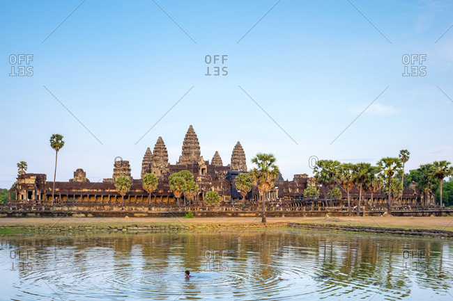 Krong Siem Reap, Siem Reap, Cambodia - April 23, 2015: Angkor Wat, UNESCO World Heritage Site, Siem Reap Province, Cambodia