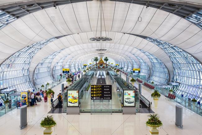 Bangkok, Chang Wat Samut Prakan, Thailand - May 25, 2015: Suvarnabhumi International Airport terminal, Bangkok, Thailand