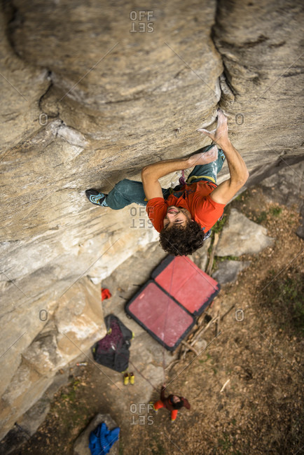 Baceno, Piemonte, Italy - December 4, 2015: Professional climber Jacopo Larcher during the first trad ascent of Lapoterapia, one of the hardest trad routes in the world. Ossola, Italy.