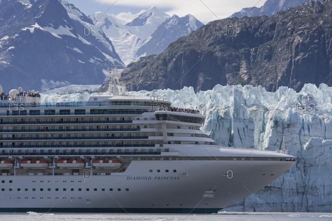 Glacier Bay National Park, Alaska, USA - August 13, 2007: USA, Alaska, Glacier Bay National Park, Cruise ship MV Diamond Princess near Margerie Glacier