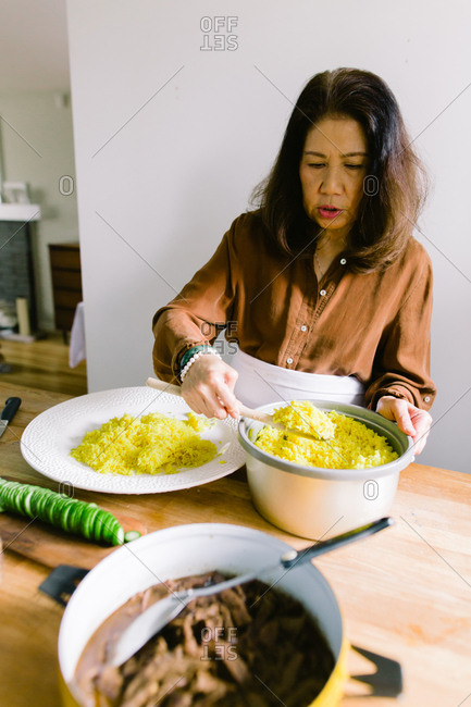 Woman preparing traditional Indonesian dish