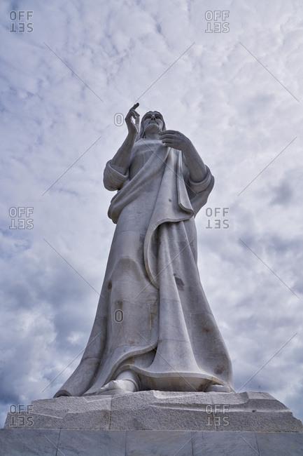 Christ of Havana statue seen from below, Havana, Cuba