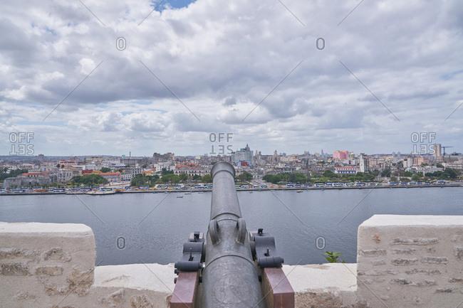 Havana, Cuba - March 7, 2017: Canon at Morro Castle pointing toward the city