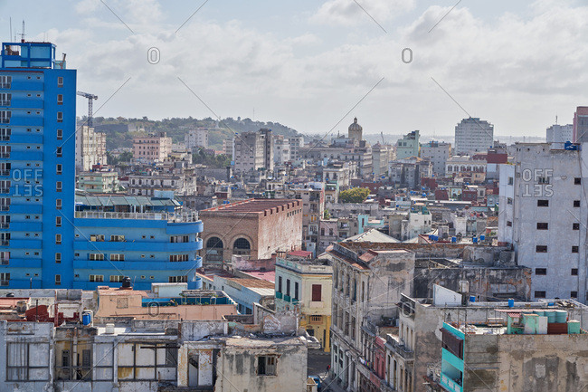 Havana, Cuba - March 8, 2017: Skyscrapers and rooftops in the city