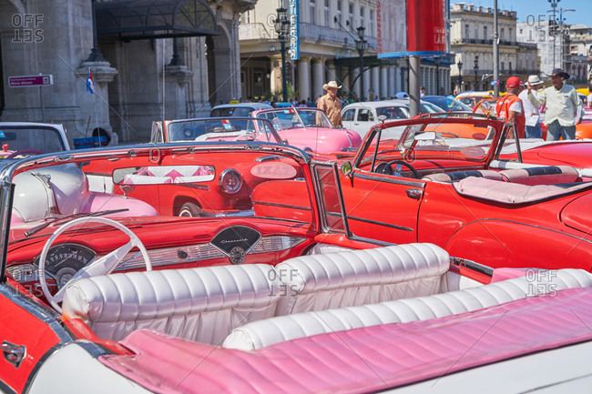 Havana, Cuba - March 8, 2017: Classic convertible cars parked along a street
