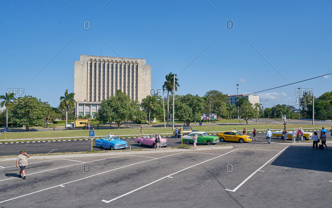 Havana, Cuba - March 8, 2017: Colorful classic cars in a parking lot