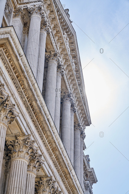 Columns on the facade of St. Paul's Cathedral in London