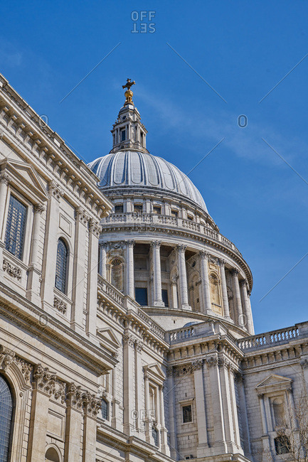 Dome and facade of St. Paul's Cathedral in London