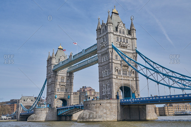 London, United Kingdom - March 26, 2017: Two towers of the Tower Bridge on the River Thames
