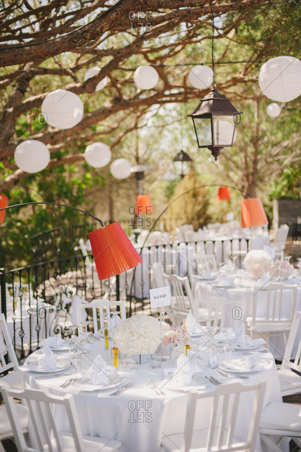 Reception tables under hanging globes