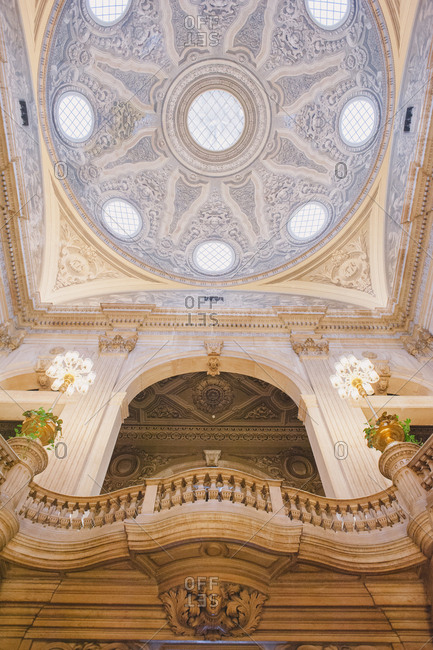 Dome in opulent building, Lisbon, Portugal