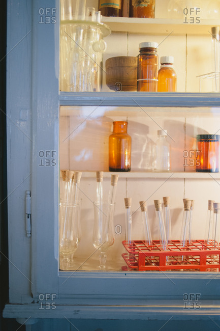 Old bottles in a hutch