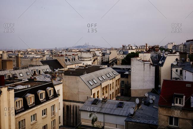 Bird's eye view of residential neighborhood in Paris, France