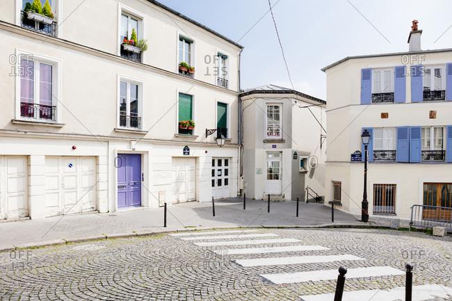 Cobblestone street in Paris, France