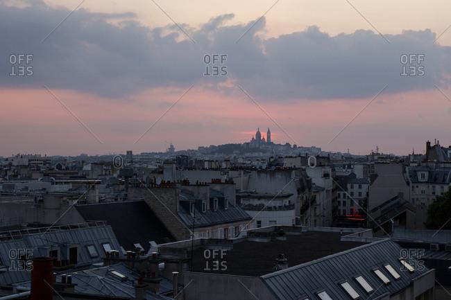 Bird's eye view of residential neighborhood in Paris, France at sunset