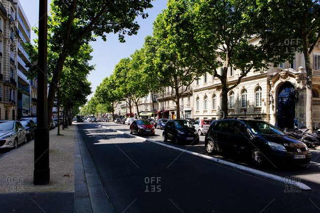 Street with cars in Paris, France