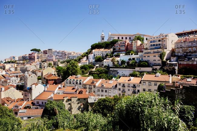 Hillside buildings in Lisbon, Portugal