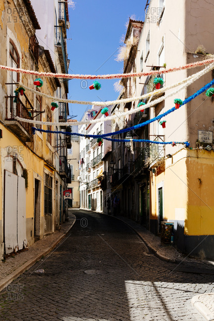 City streets decorated with garland in Lisbon, Portugal