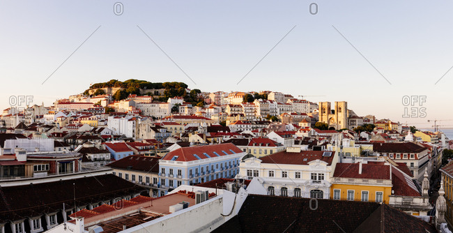 Hillside buildings and homes in Lisbon, Portugal