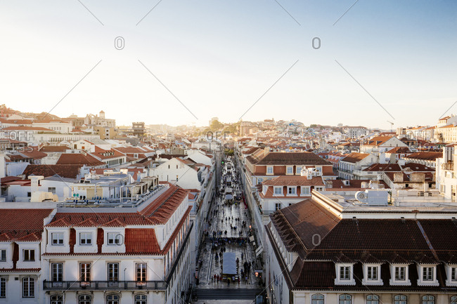 Elevated view of streets in Lisbon, Portugal at sunset