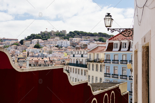 Colorful hillside buildings and homes in Lisbon, Portugal