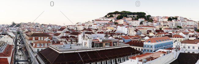 Panoramic view of hillside buildings and homes in Lisbon, Portugal