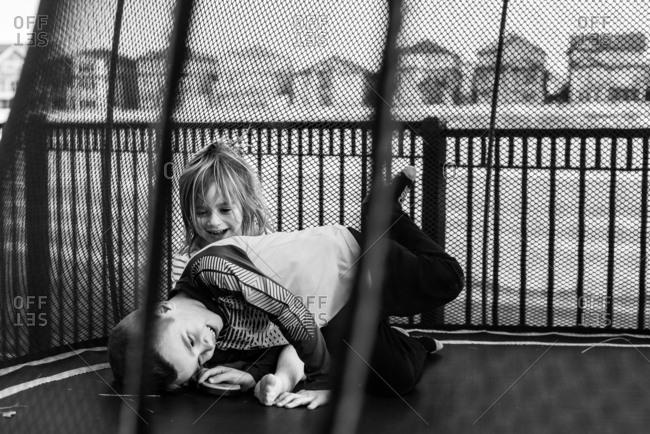 Kids having fun on a trampoline