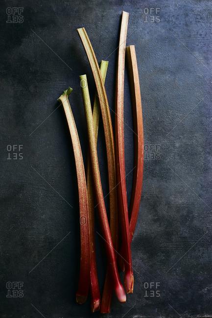 Rhubarb stalks still life