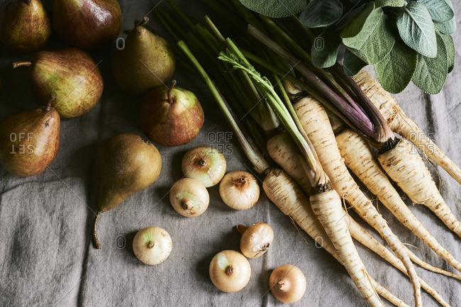 Still life of ingredients for roasted parsnips, pears, and onions