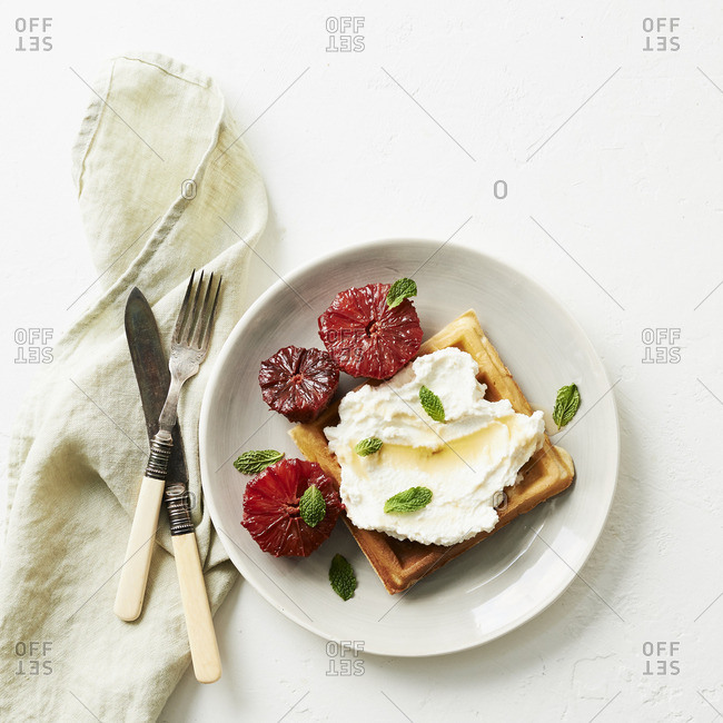 Waffle with ricotta and blood oranges