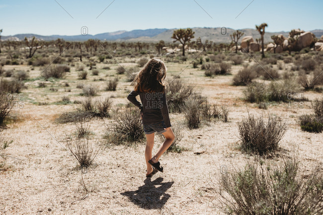 Young girl exploring Joshua Tree National Park