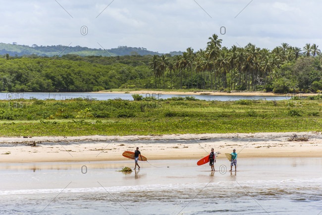 Itacare, Bahia, Brazil - November 7, 2016: Surfers in Itacare Beach, South Bahia, Brazil
