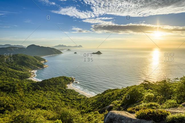 Scenics view during sunrise from Pedra do Telegrafo in Barra de Guaratiba, Rio de Janeiro, Brazil